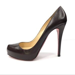 Christian Louboutin brown oxblood heels platforms